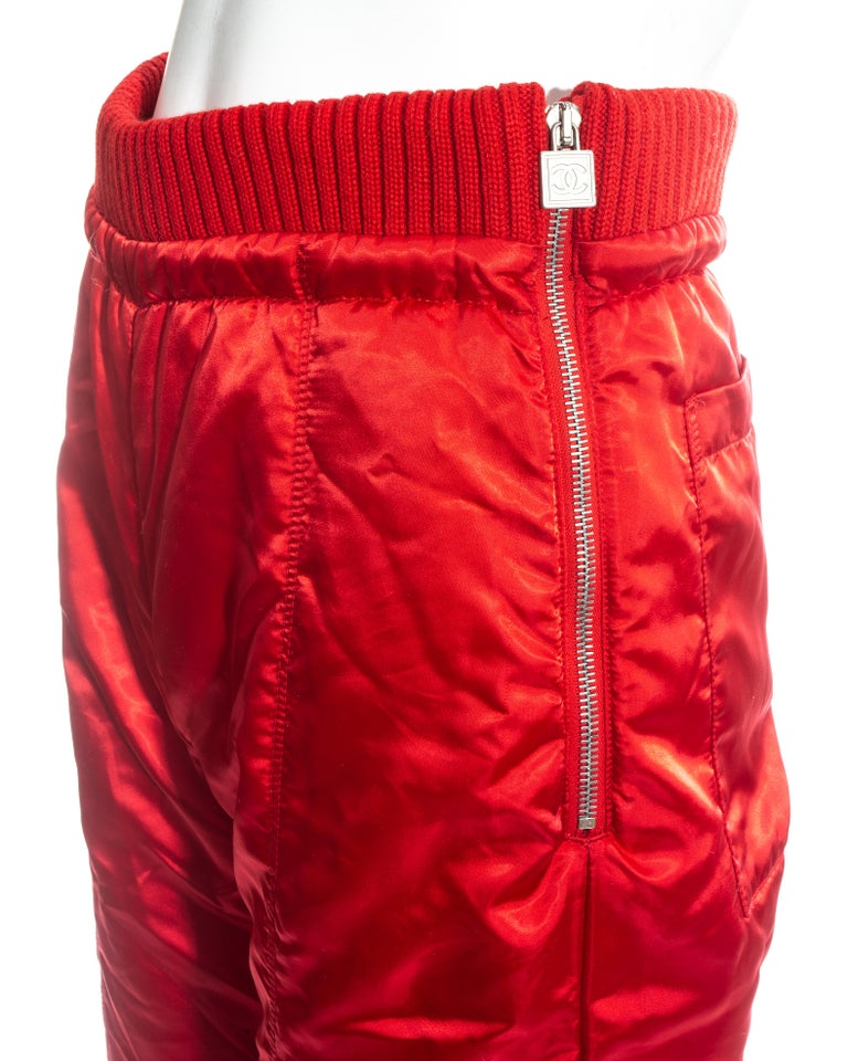 Chanel by Karl Lagerfeld red sport cropped tracksuit, fw 2003 For Sale 7