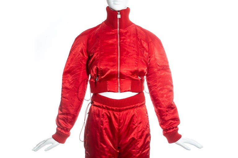 Chanel by Karl Lagerfeld red sport cropped tracksuit, fw 2003 In Excellent Condition For Sale In London, London