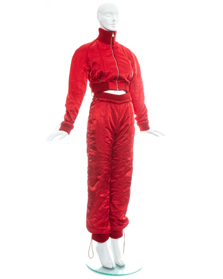 Women's Chanel by Karl Lagerfeld red sport cropped tracksuit, fw 2003 For Sale