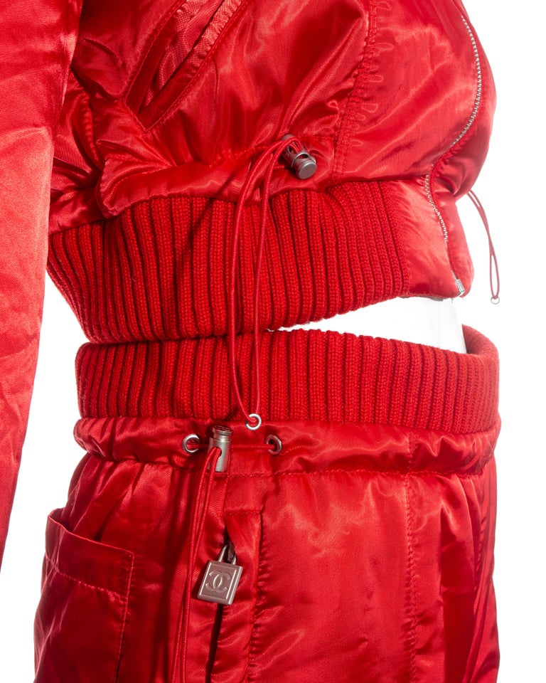 Chanel by Karl Lagerfeld red sport cropped tracksuit, fw 2003 For Sale 1