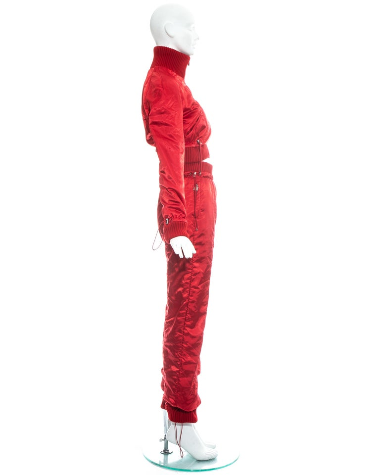 Chanel by Karl Lagerfeld red sport cropped tracksuit, fw 2003 For Sale 2