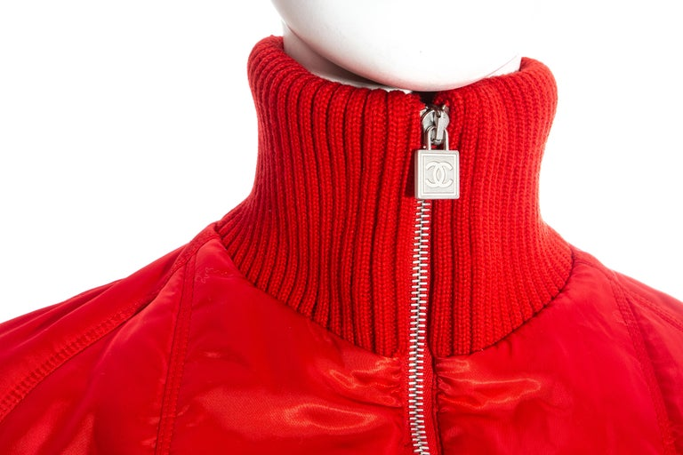 Chanel by Karl Lagerfeld red sport cropped tracksuit, fw 2003 For Sale 3
