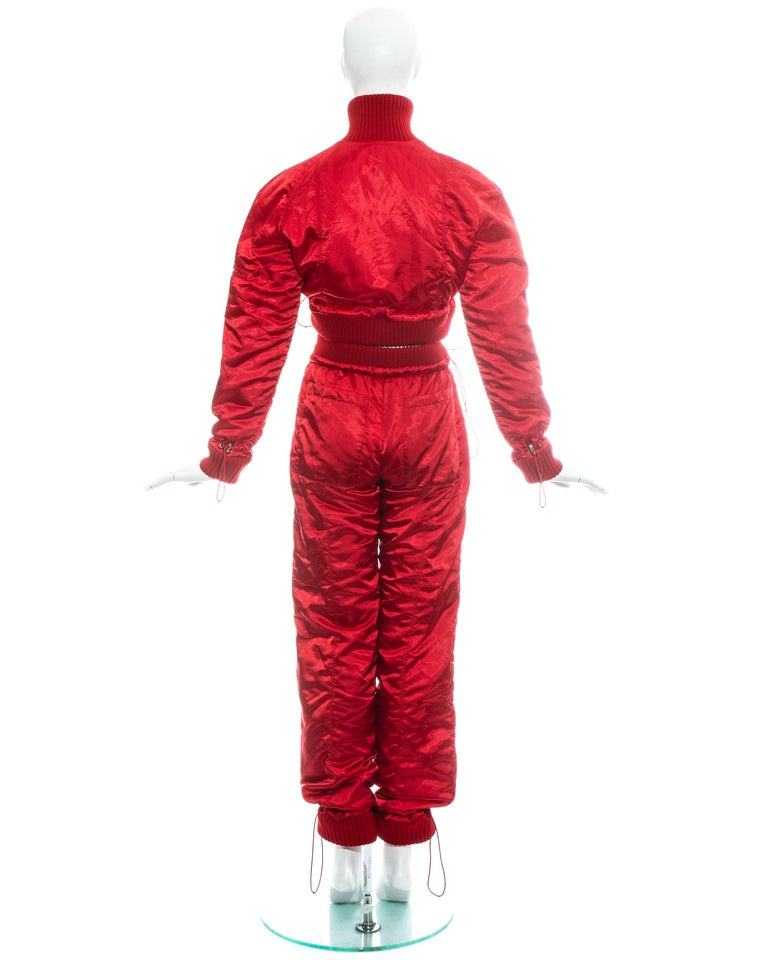 Chanel by Karl Lagerfeld red sport cropped tracksuit, fw 2003 For Sale 5