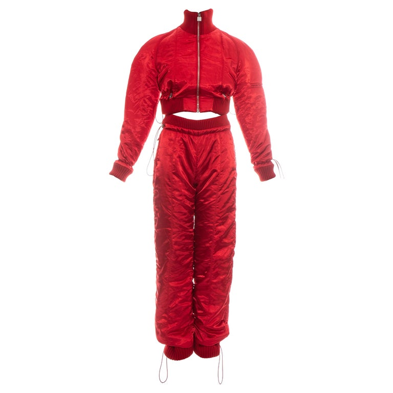 Chanel by Karl Lagerfeld red sport cropped tracksuit, fw 2003 For Sale