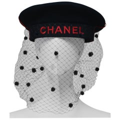CHANEL By Karl Lagerfeld Vintage Hat With Camellia And Tulle Net