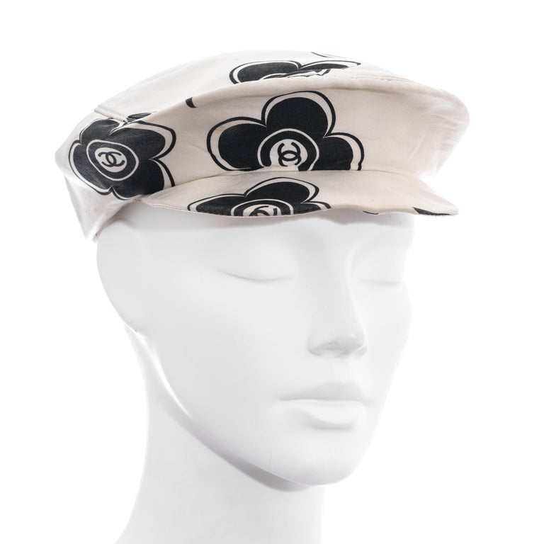 Women's Chanel by Karl Lagerfeld white and black silk flat cap, ss 2002  For Sale
