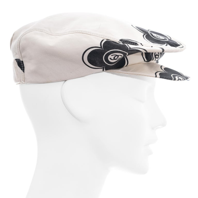 Chanel by Karl Lagerfeld white and black silk flat cap, ss 2002  For Sale 1