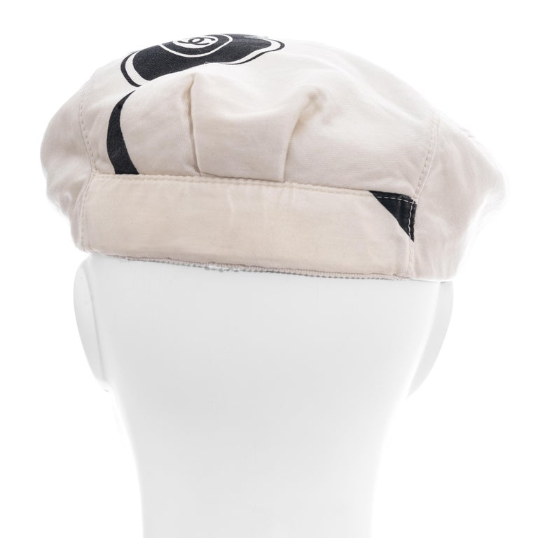 Chanel by Karl Lagerfeld white and black silk flat cap, ss 2002  For Sale 2
