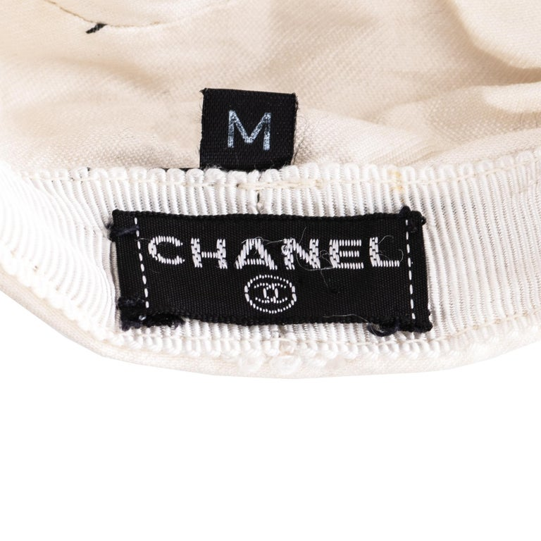 Chanel by Karl Lagerfeld white and black silk flat cap, ss 2002  For Sale 3