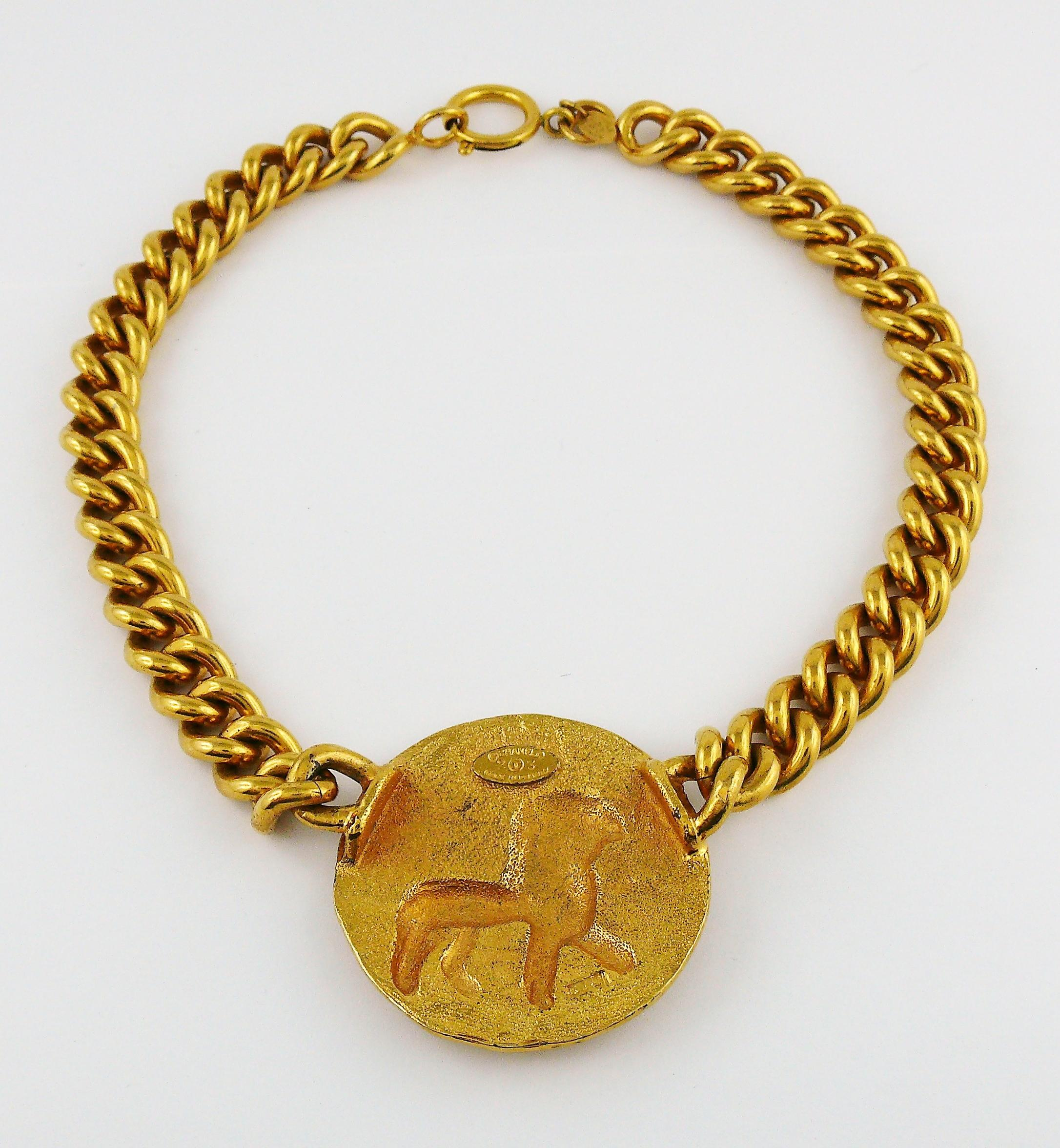 32888ffd85e Chanel by Robert Goossens Vintage Zodiac Lion Medallion Choker Necklace For  Sale at 1stdibs