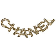"""Chanel """"C H A N E L""""  Name in Crystal Letters double Pin, 2018"""