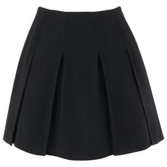 CHANEL c.1980's Boutique Classic Black Wool Panel Pleated Mini Skirt