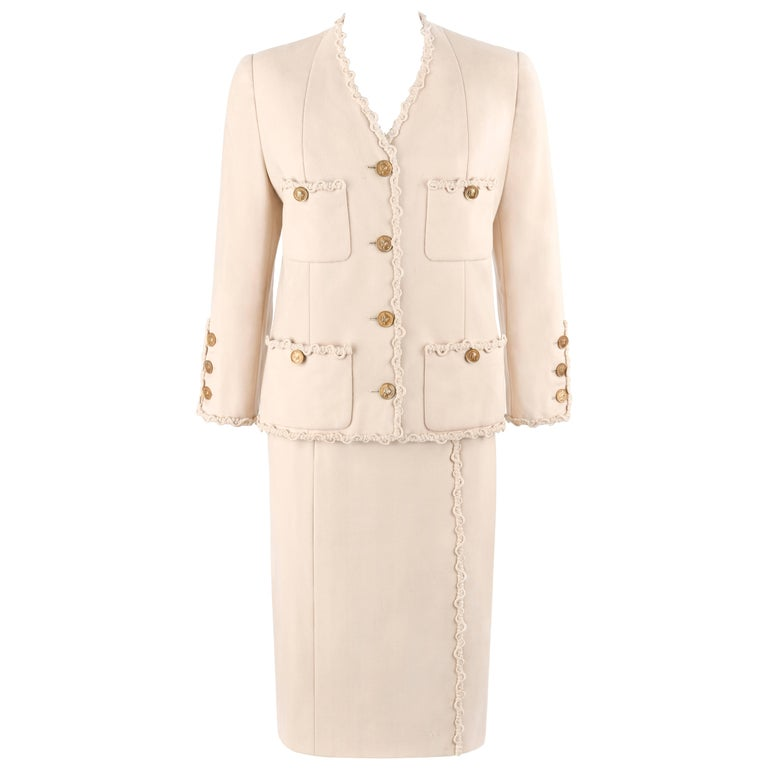 CHANEL c.1980's Haute Couture Numbered Beige Wool Jacket Skirt Suit Custom Fit