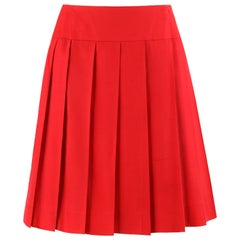 CHANEL c.1980's Red Silk Classic Pleated Skirt