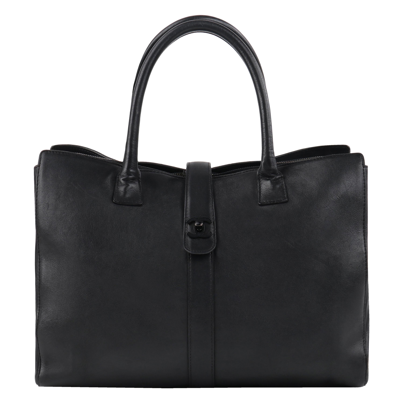 "CHANEL c.1990s ""Cerf"" Black Leather Mademoiselle Lock Business Tote Handbag"