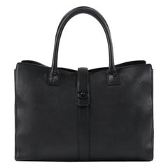 "CHANEL c.1990s ""Cerf"" Black Leather Mademoiselle Lock Business Tote Handbag"
