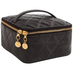 CHANEL c.1996 Brown Coated Leather Quilted Zip Around Cosmetic Bag Travel Case