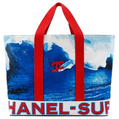 CHANEL c.2002 Red White Blue CC Surf Wave Canvas Beach Bag Large Tote
