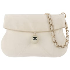 CHANEL c.2003 Ivory Lambskin Leather Coco Cue Ball Braided Chain Shoulder Bag