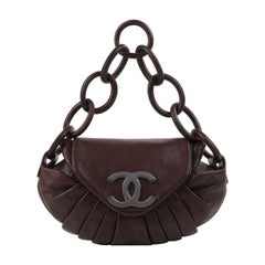 CHANEL c.2004 Hickory Brown Lambskin Leather Pleated Chain-Link Shoulder Bag