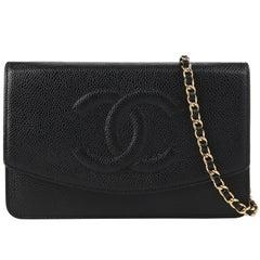 """CHANEL c.2007 """"Wallet On Chain WOC"""" Caviar Leather """"CC"""" Crossbody Bag Clutch"""