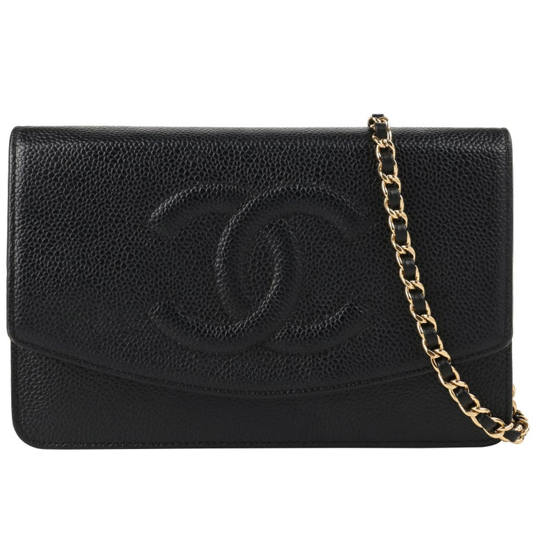 "CHANEL c.2007 ""Wallet On Chain WOC"" Caviar Leather ""CC"" Crossbody Bag Clutch"