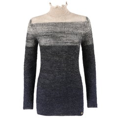 CHANEL c.2012 Navy & Beige Alpaca Wool Shimmering Ombré Turtleneck Sweater
