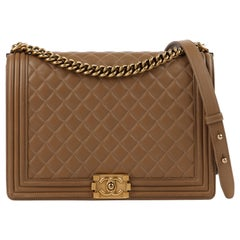 "CHANEL c.2014 ""Boy"" Tan Quilted Leather Gold Hardware Cross-body Shoulder Bag"