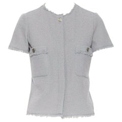 CHANEL cadet grey short sleeves slim-fit frayed hem summer tweed jacket FR 34 XS