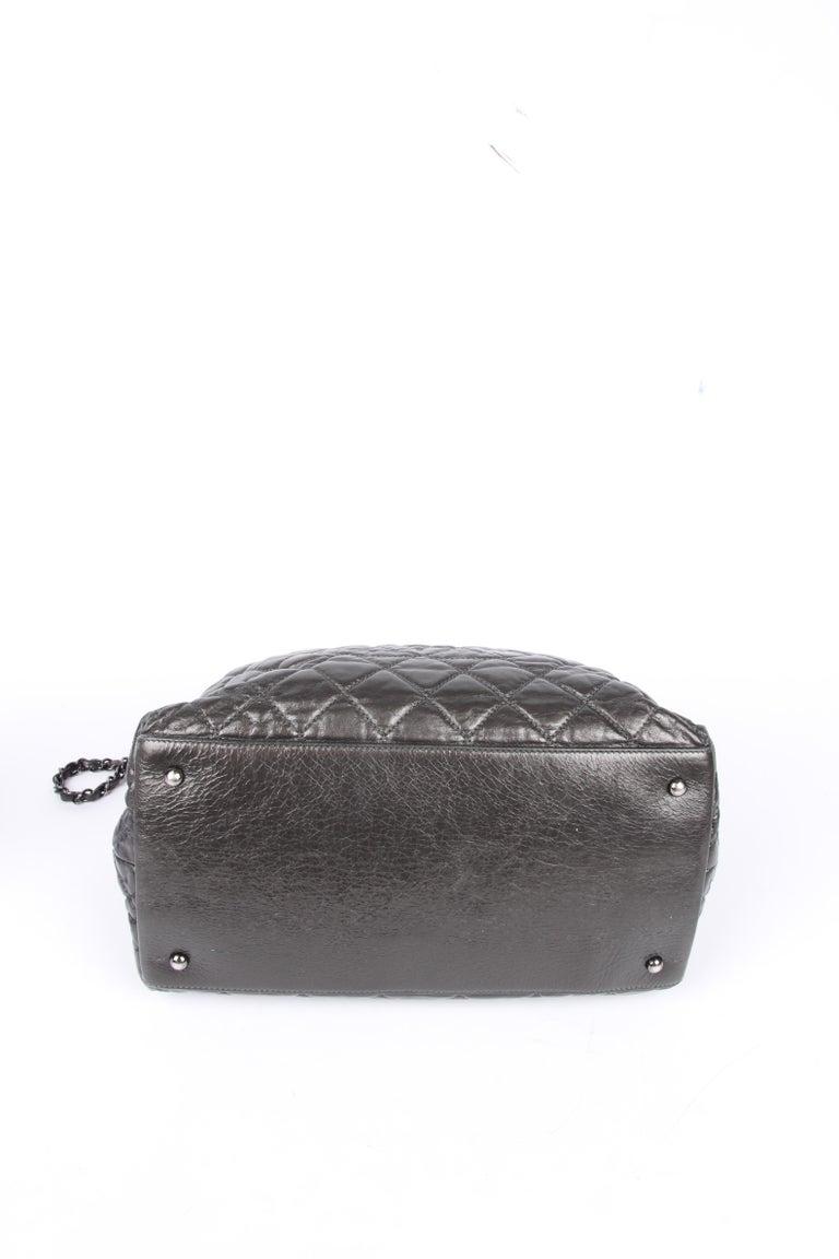 Gray Chanel Calfskin Chain Me Tote Bag - grey metallic For Sale