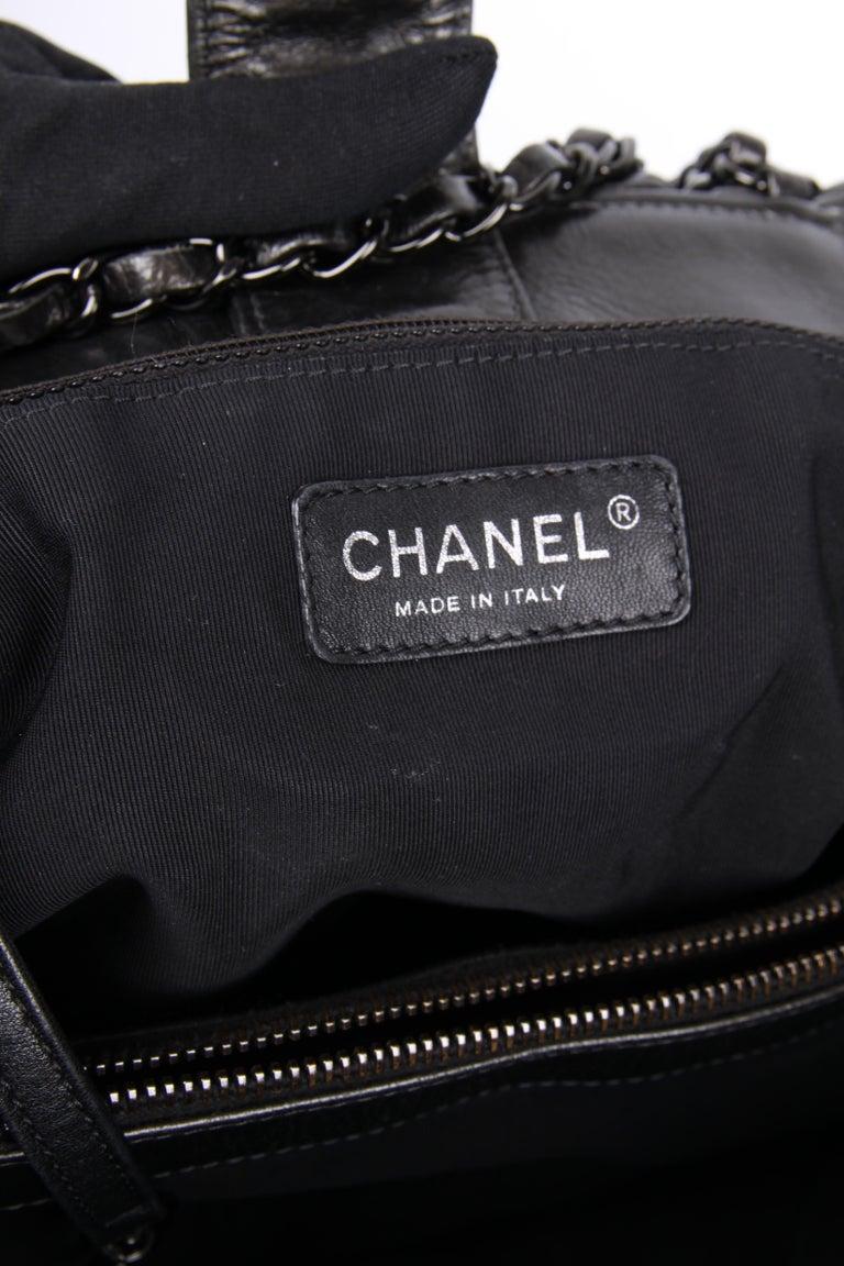 Chanel Calfskin Chain Me Tote Bag - grey metallic For Sale 2