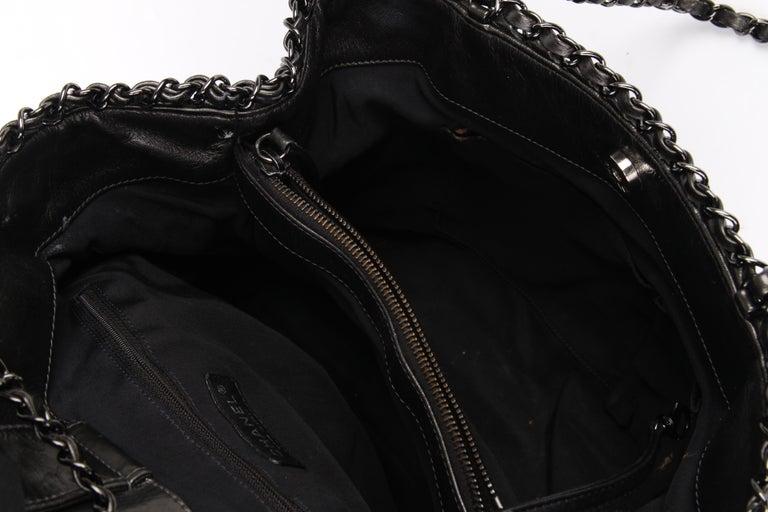 Chanel Calfskin Chain Me Tote Bag - grey metallic For Sale 3