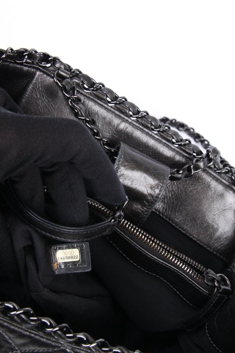 Chanel Calfskin Chain Me Tote Bag - grey metallic For Sale 4