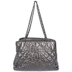 Chanel Calfskin Chain Me Tote Bag - grey metallic