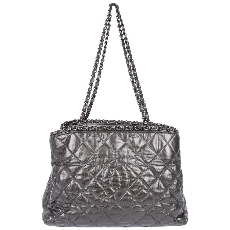 Chanel Calfskin Chain Me Tote Bag - grey metallic For Sale