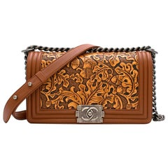 Chanel Calfskin Embossed Medium Cordoba Brown Boy Bag 25cm