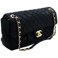 CHANEL Calfskin Sparkle Leather Chain Shoulder Bag Black Quilted