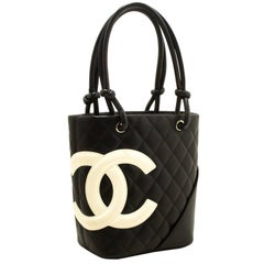 Chanel Cambon Black Quilted Calfskin Small Shoulder Bag Tote