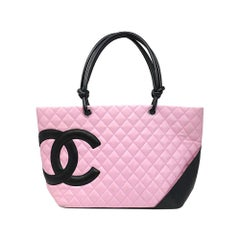 Chanel Cambon Ligne Pink and Black Large Tote