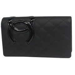 CHANEL Cambon line long wallet A26717 black