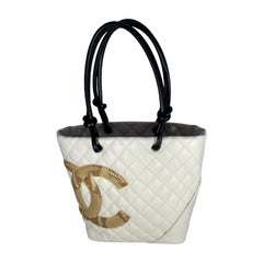 CHANEL Cambon Line Medium Tote Bag COCO Mark CC mark Tote Bag leather White