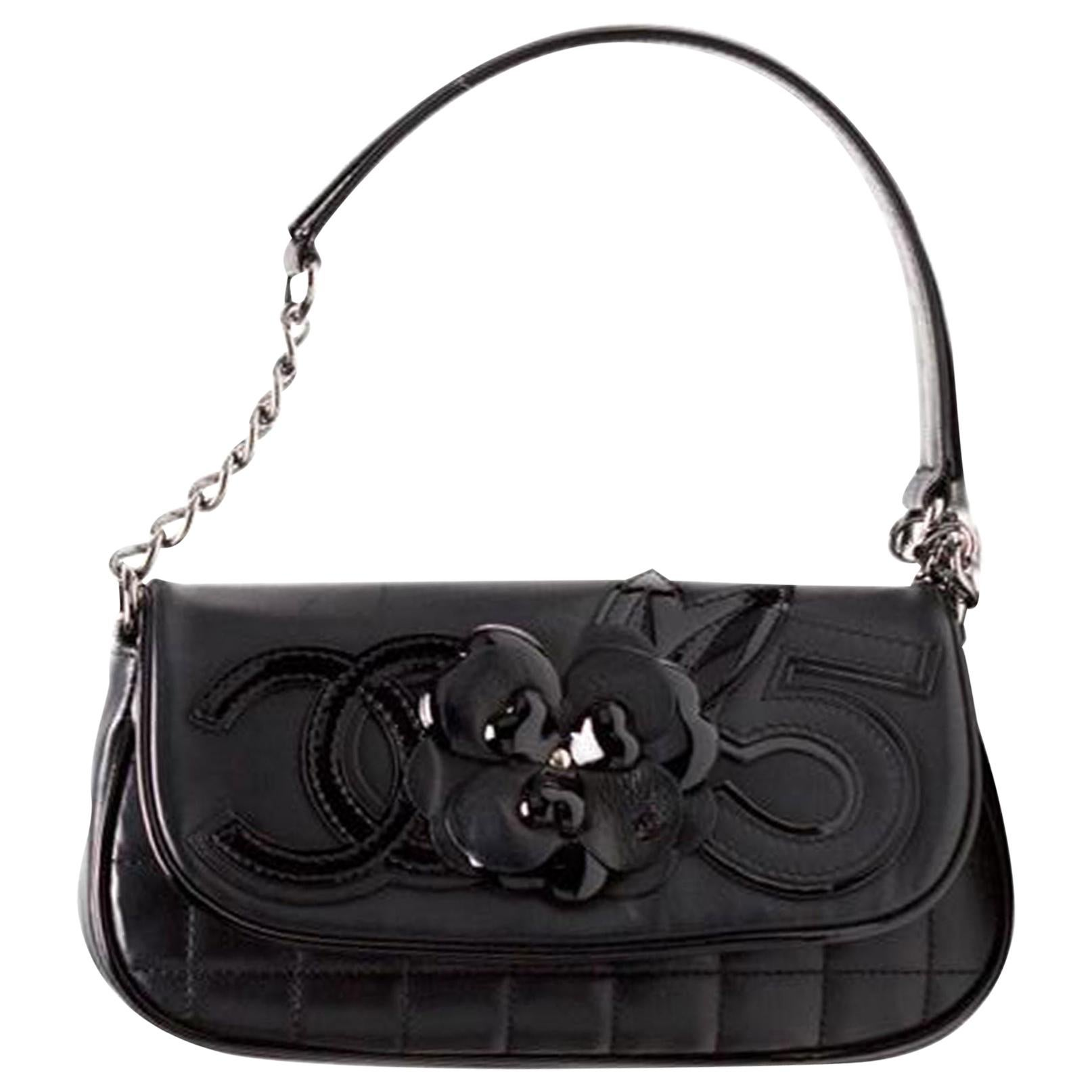 Chanel Cambon Quilted Lambskin Camellia No. 5 Flap Black Leather Shoulder Bag