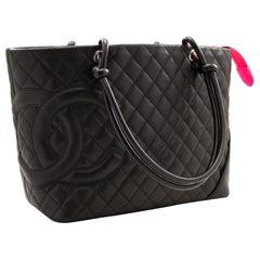 CHANEL Cambon Tote Large Shoulder Bag Black Quilted Calfskin