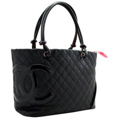CHANEL Cambon Tote Large Shoulder Bag Black Quilted Calfskin
