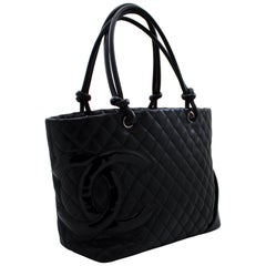 CHANEL Cambon Tote Large Shoulder Bag Black Quilted Calfskin Leather