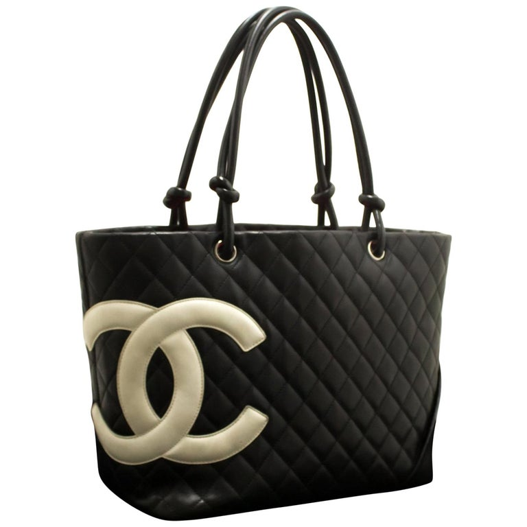 fe3d19aea08d CHANEL Cambon Tote Large Shoulder Bag Black White Quilted Calfskin For Sale