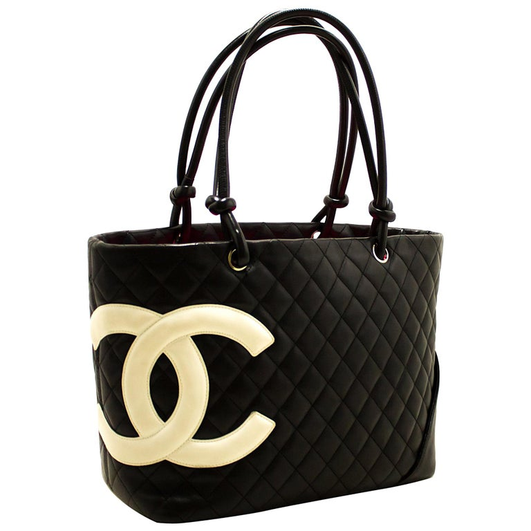 401860ad4770e CHANEL Cambon Tote Large Shoulder Bag Black White Quilted Calfskin For Sale