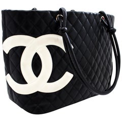 CHANEL Cambon Tote Large Shoulder Bag Black White Quilted Calfskin Leather