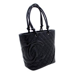 CHANEL Cambon Tote Small Shoulder Bag Black Quilted Calfskin