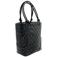 CHANEL Cambon Tote Small Shoulder Bag Black Quilted Calfskin Leather